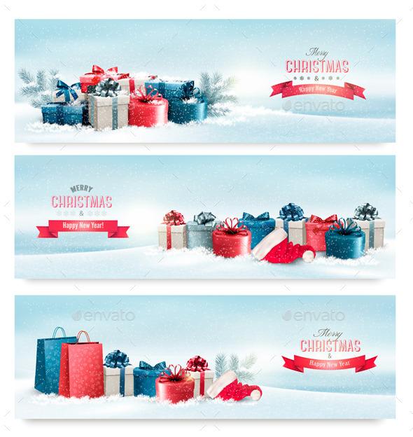 Three Christmas Banners with Presents - Christmas Seasons/Holidays