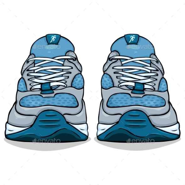 Cartoon Single Blue Running Shoes by nikiteev | GraphicRiver