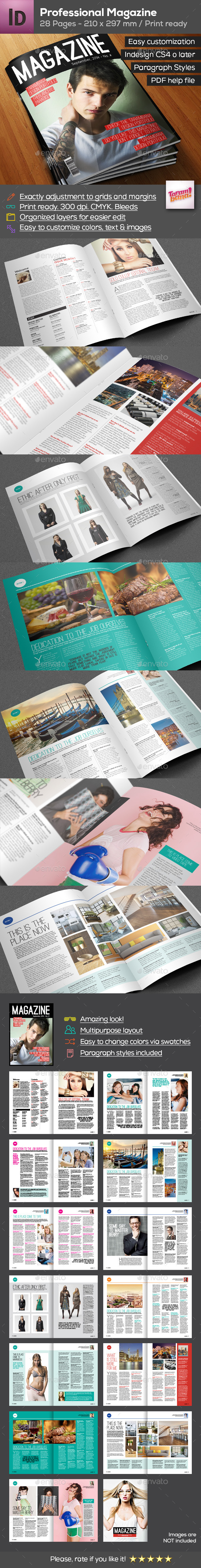 Professional Magazine A4 - 28 pages  - Magazines Print Templates