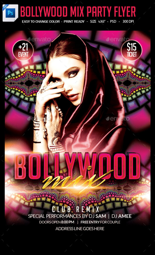 Bollywood Mix Party Flyer - Clubs & Parties Events