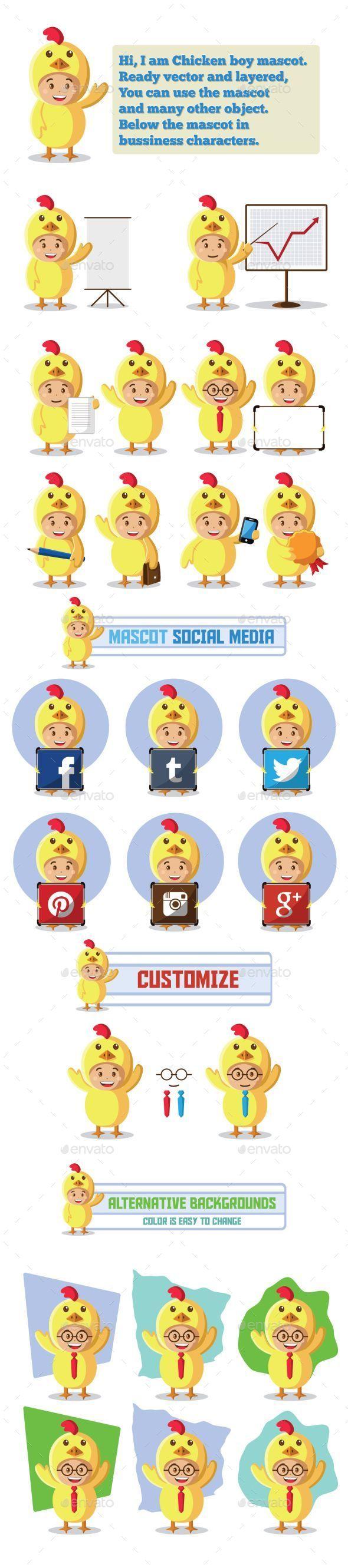 Chicken Mascot Character - Characters Vectors