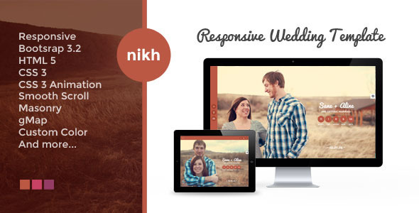 NIKH – Responsive HTML Wedding Template