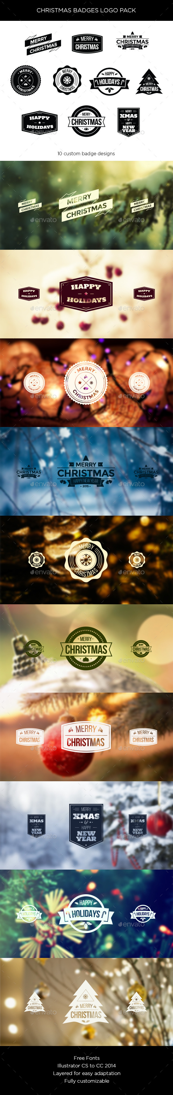 Christmas Badges Logo Pack - Christmas Seasons/Holidays