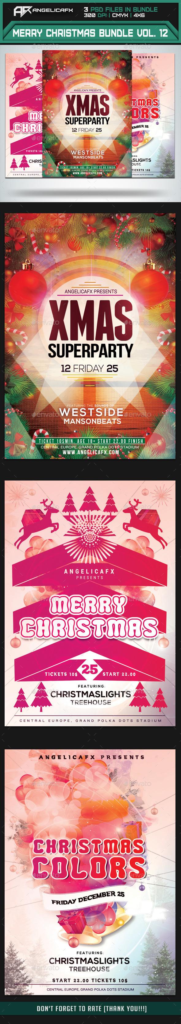 Merry Christmas Flyer Bundle Vol. 1 - Flyers Print Templates