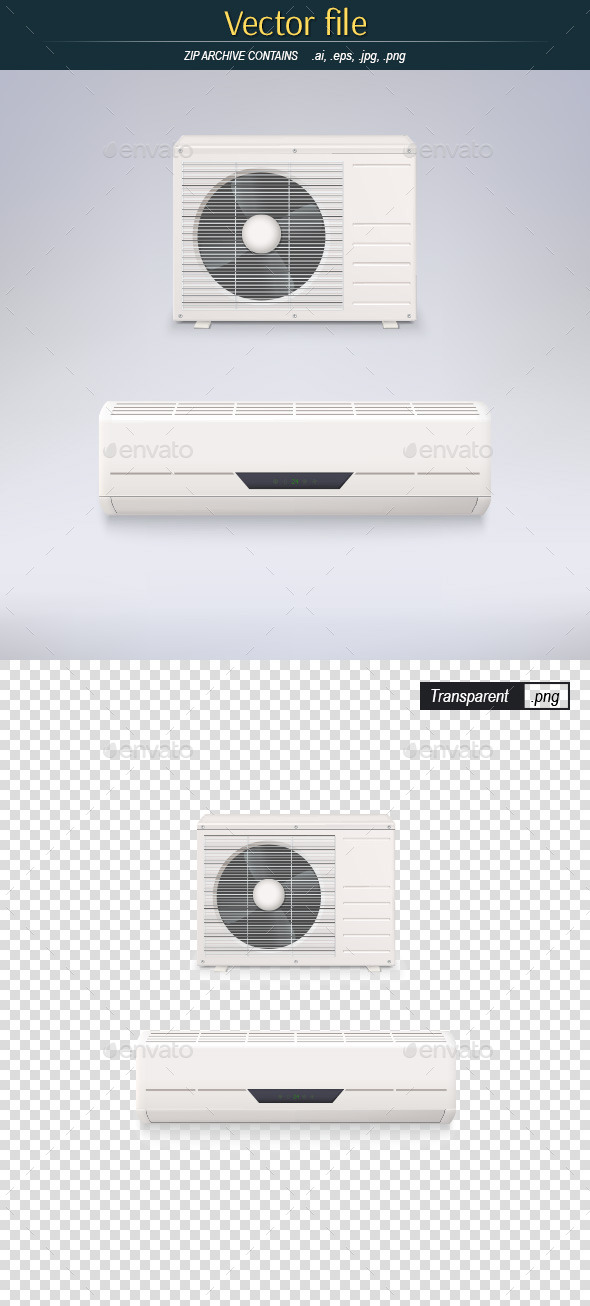 White Air Conditioner - Man-made Objects Objects