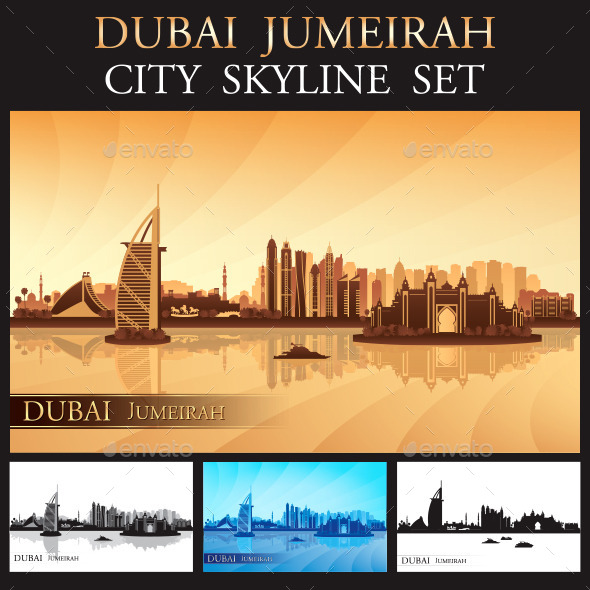 Dubai Jumeirah Skyline Silhouettes Set - Buildings Objects