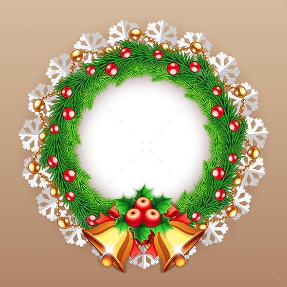 Christmas Wreath with Bells - Christmas Seasons/Holidays