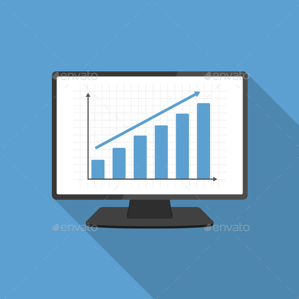 Computer with Bar Graph - Business Conceptual