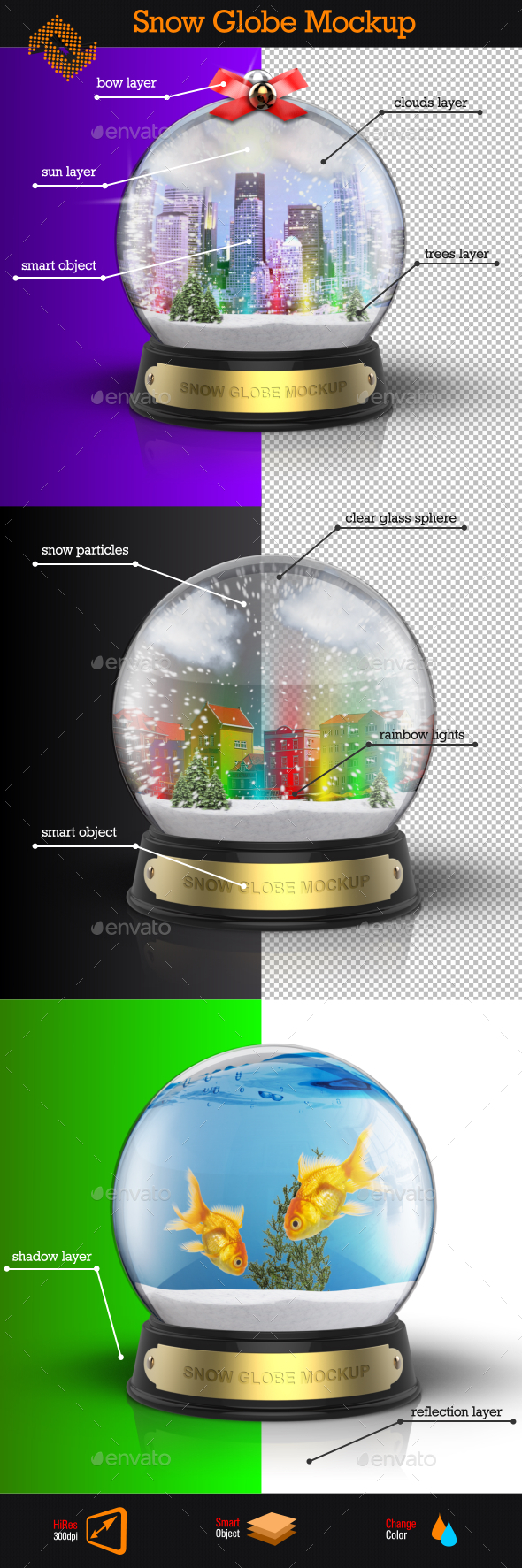 Snow Globe Mockup - Product Mock-Ups Graphics
