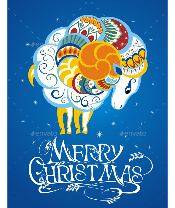 2015 New Year Card with Goat - Christmas Seasons/Holidays