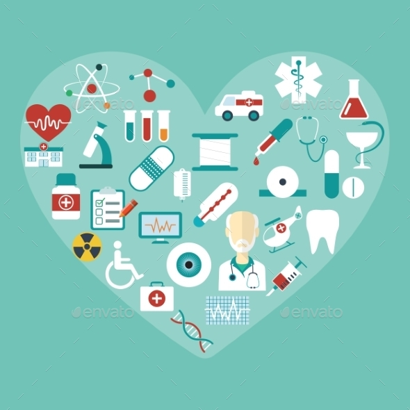 Set of Vector Flat Medical Icons. Modern Concept.  - Health/Medicine Conceptual