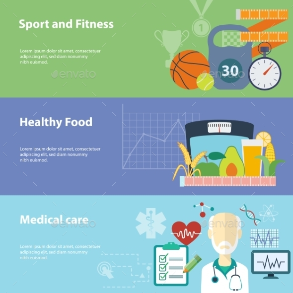 Healthy Lifestyle Banners Set.  - Sports/Activity Conceptual