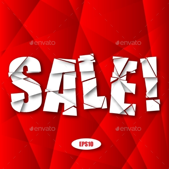 Sale Cut Paper Poster on Red Background - Miscellaneous Vectors