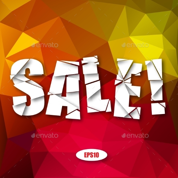 Sale Cut Paper Poster on Bright Background - Miscellaneous Vectors