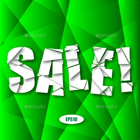 Sale Cut Paper Poster on Green Background - Miscellaneous Vectors