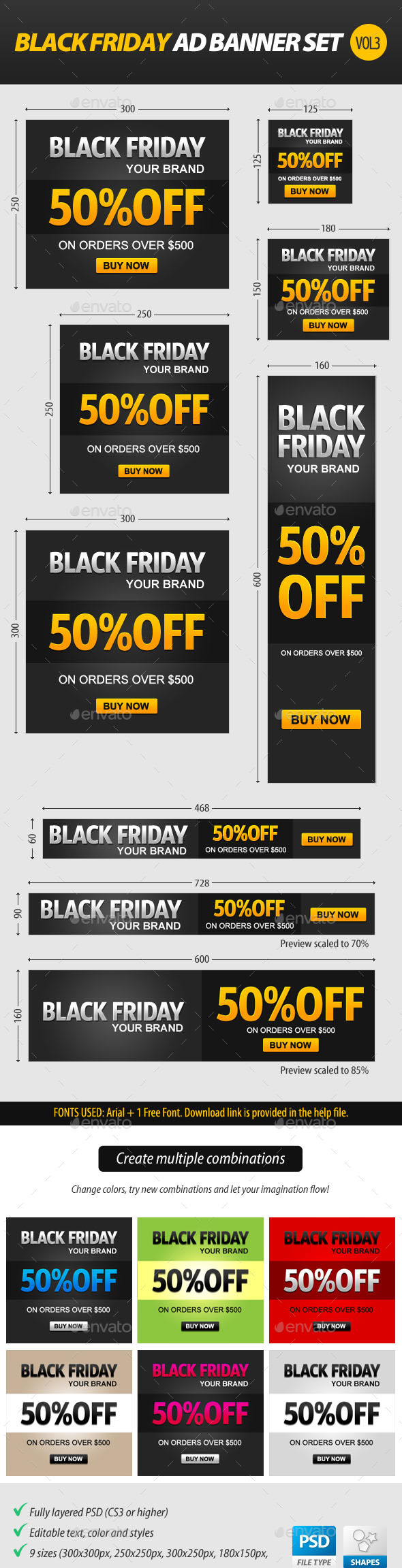 Black Friday Ad Banner Set vol.3 - Banners & Ads Web Elements