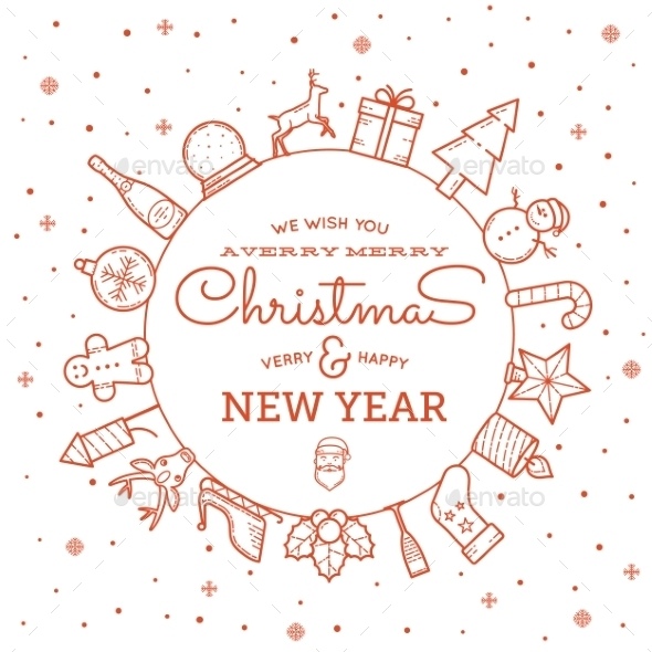 Line Style Christmas and New Year Greeting Banner  - Christmas Seasons/Holidays