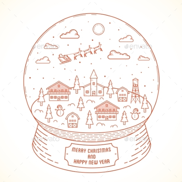 Line Style Christmas and New Year Vector Snowball  - Christmas Seasons/Holidays