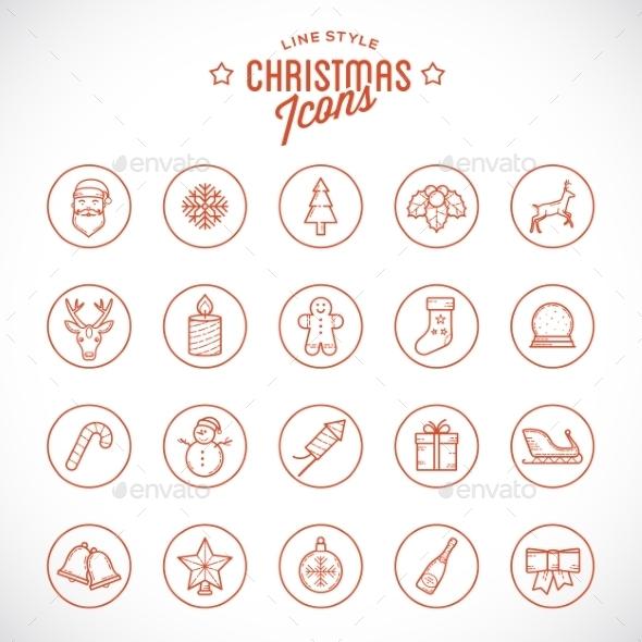 Line Style Christmas and New Year Icon Set - Christmas Seasons/Holidays