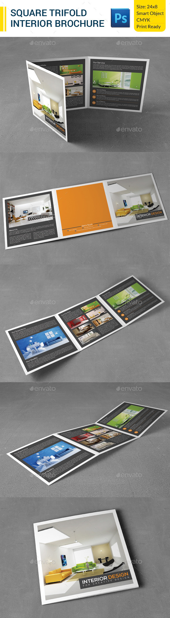 Square Trifold Interior Brochure - Corporate Brochures