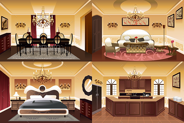 Rooms Inside the house - Objects Vectors