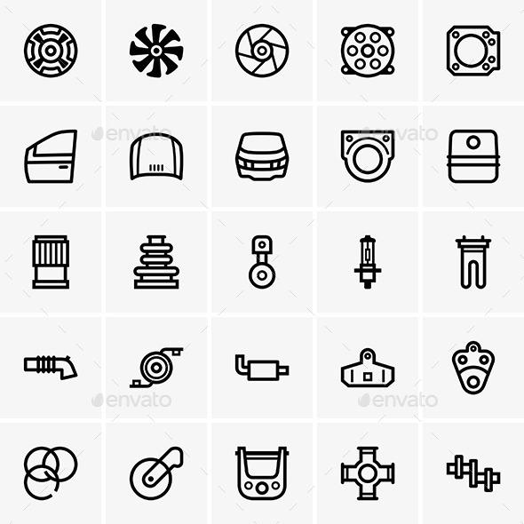 Car Part Icons - Patterns Decorative