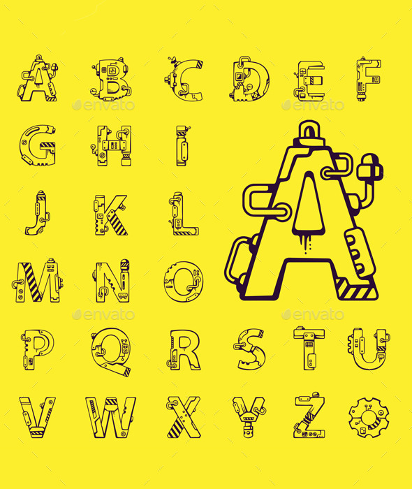 English Alphabet at Mechanical Robot Style - Education Backgrounds