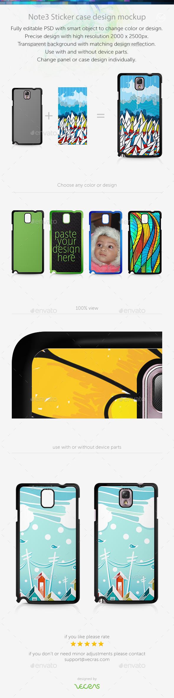 Note3 Sticker Case Design Mockup - Mobile Displays