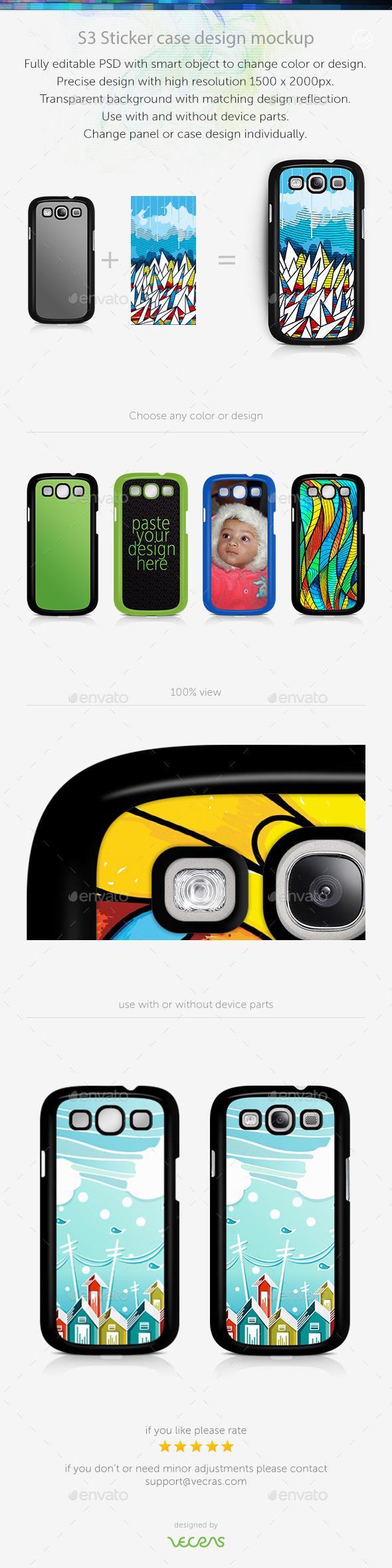 S3 Sticker Case Design Mockup - Mobile Displays