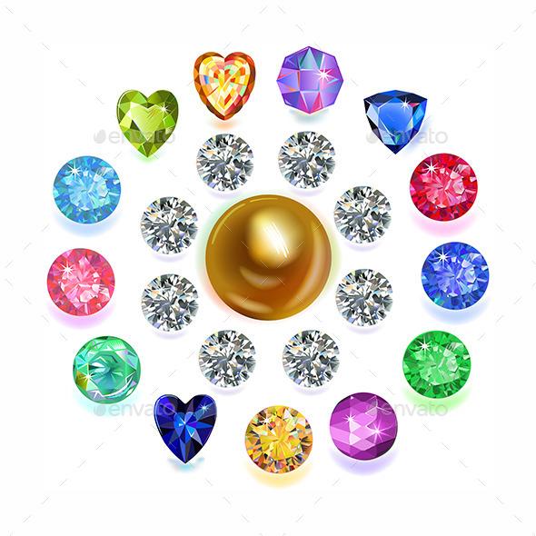 Round Composition Colored Gems Set - Decorative Symbols Decorative