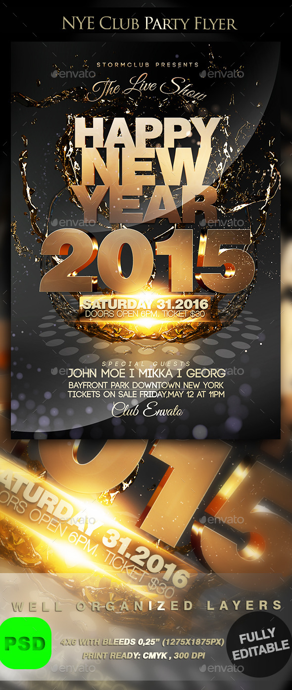 NYE Club Party Flyer - Events Flyers