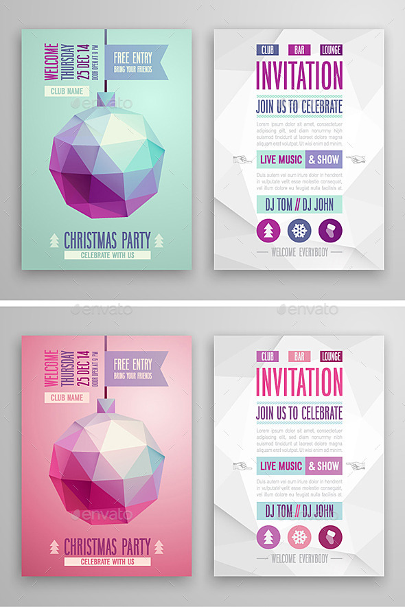 Geometric Christmas Cards - Christmas Seasons/Holidays