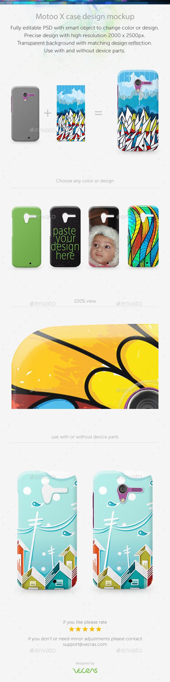 Motoo X Case Design Mockup - Mobile Displays