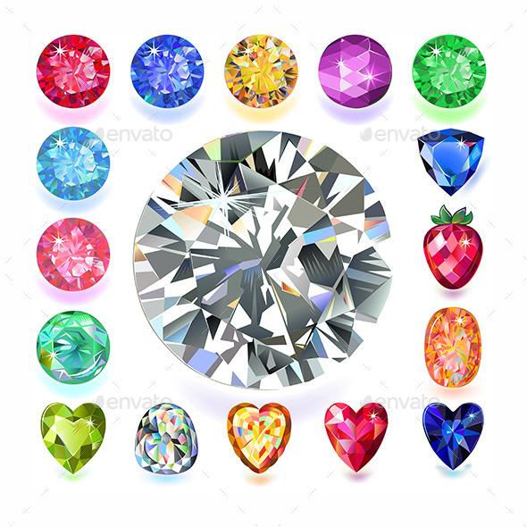 Rectangular Composition Colored Gems Set - Backgrounds Decorative