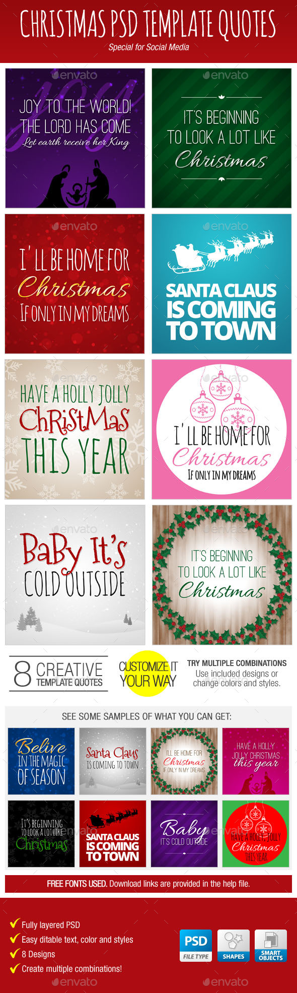 Christmas PSD Template Quotes for Social Media - Social Media Web Elements