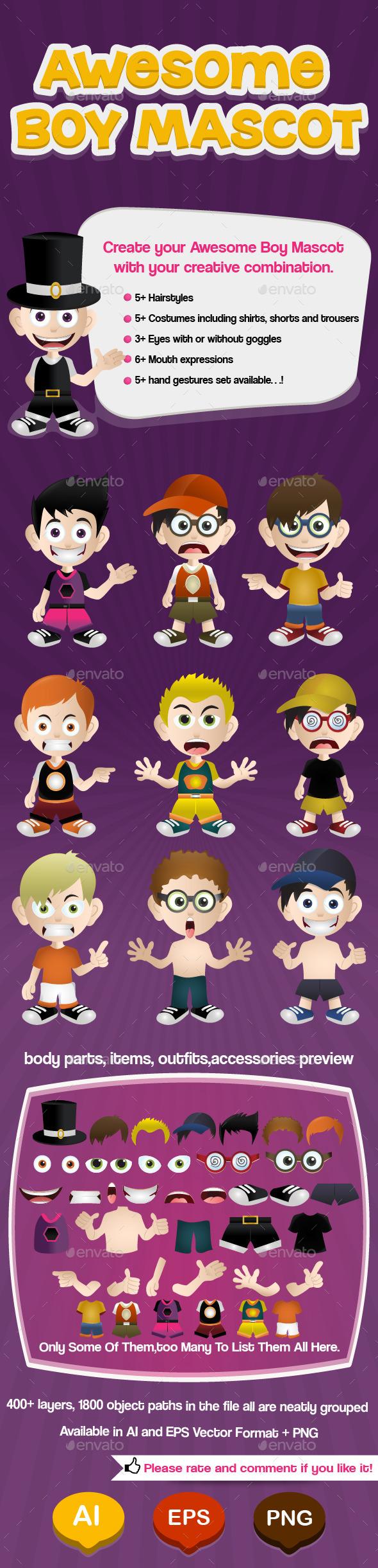 Boy Mascot - Characters Vectors