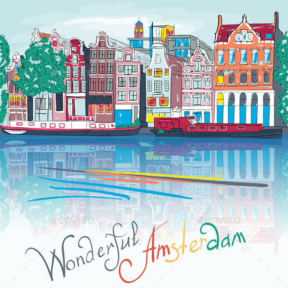 City view of Amsterdam canal Illustration - Travel Conceptual