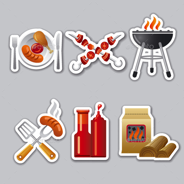 Barbeque Stickers - Food Objects