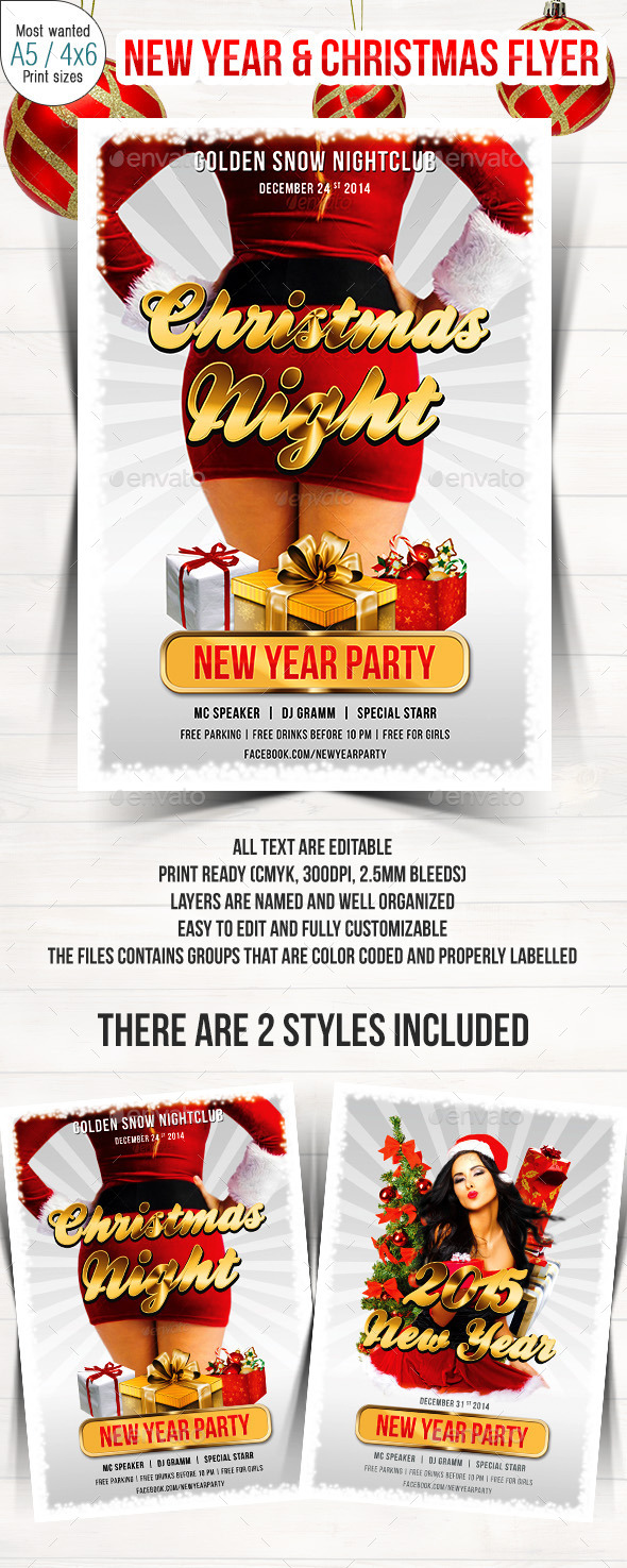 Christmas & New Year Party Flyer - Clubs & Parties Events