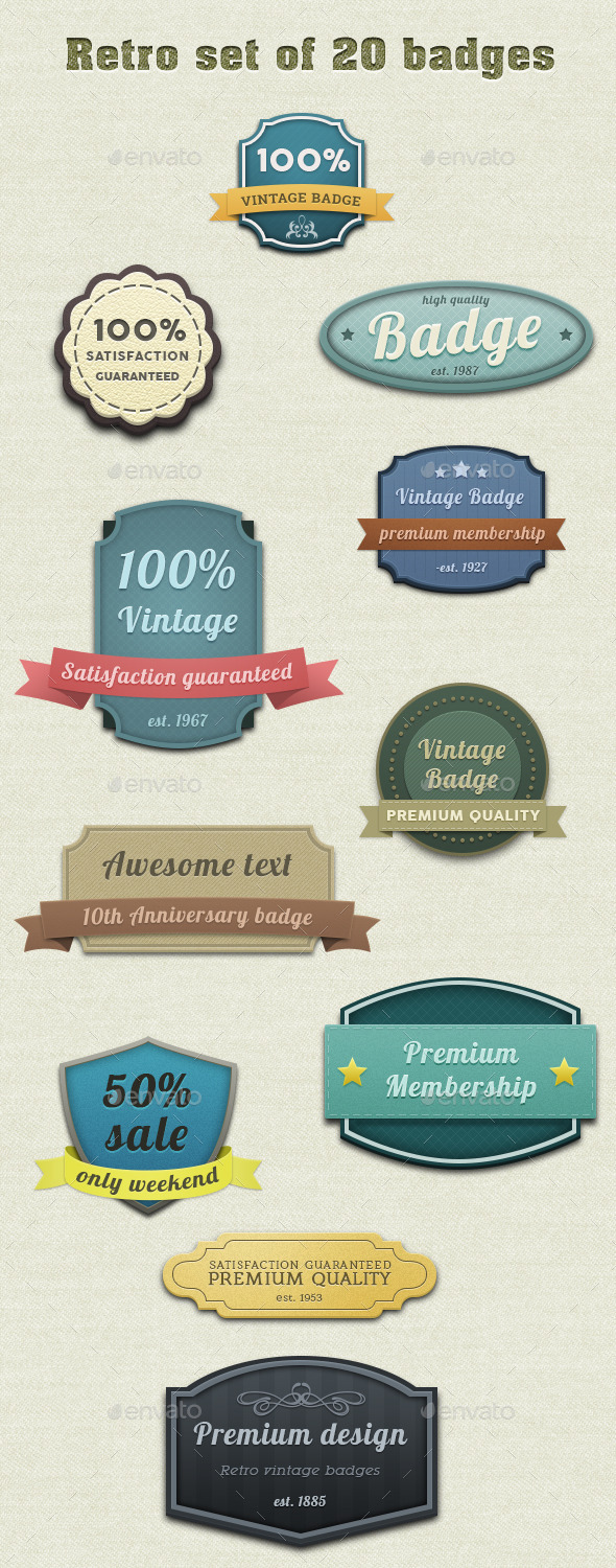 Retro Set of 20 Badges - Badges & Stickers Web Elements