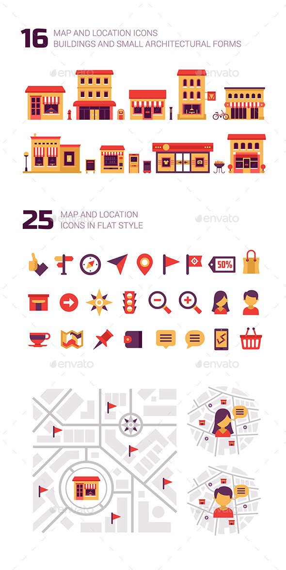 Map and Location Elements and Icons - Commercial / Shopping Conceptual