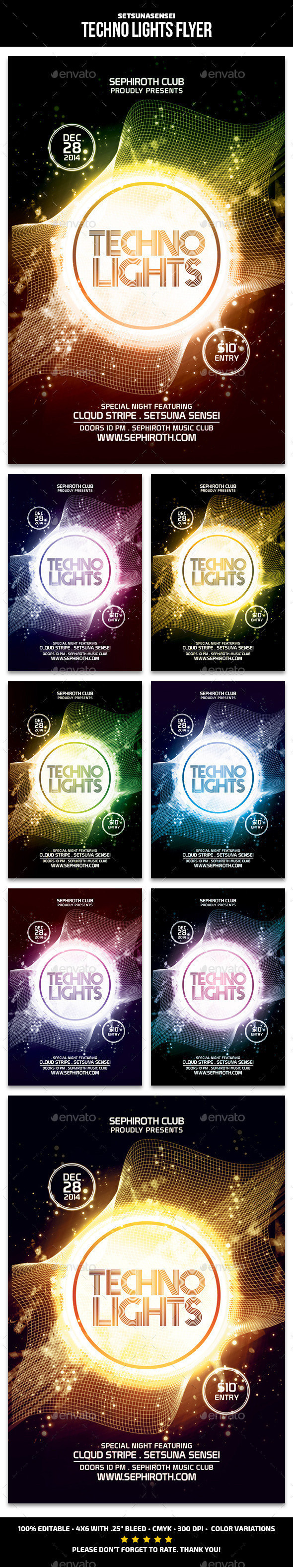 Techno Lights Flyer - Clubs & Parties Events