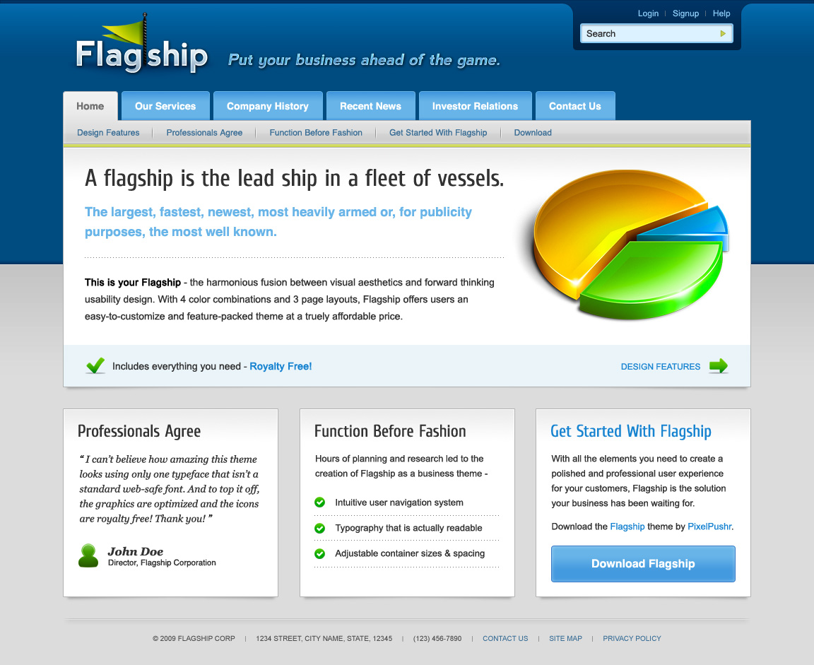 Free Download Flagship - Professional, 4 colors, 3 pages Nulled Latest Version