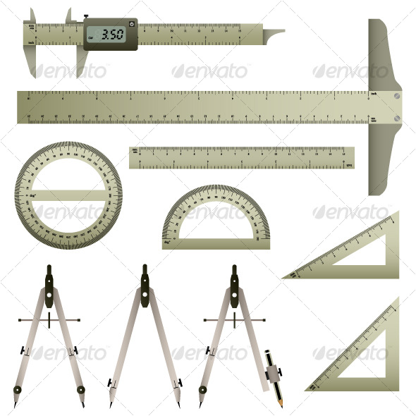 Mathematic Measurement Instrument Set Vector - Man-made Objects Objects