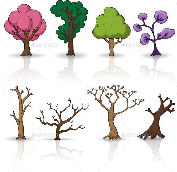Cartoon Trees Set - Organic Objects Objects