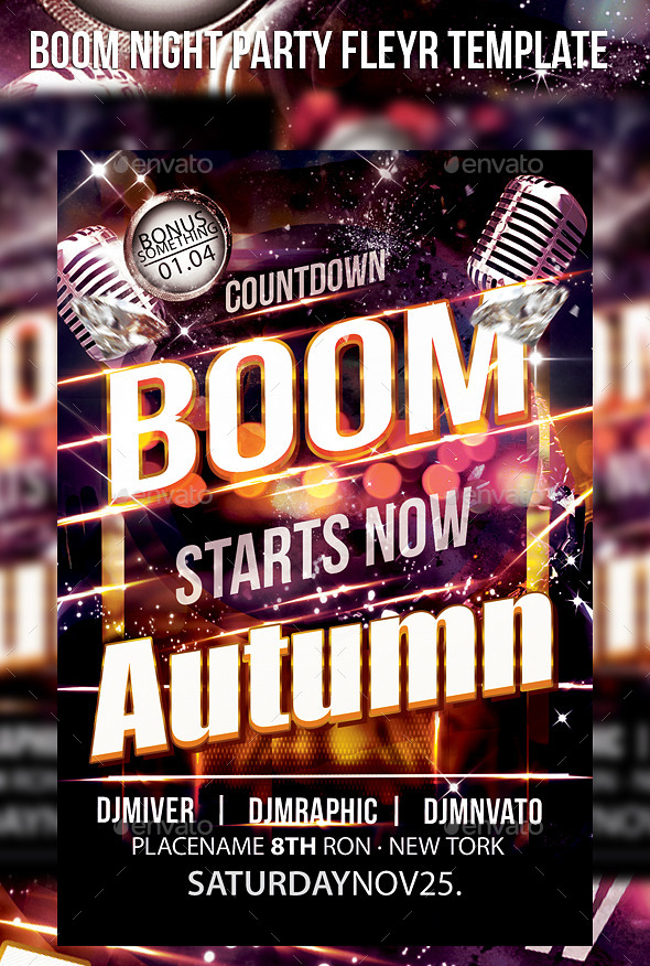 Boom Night Party Fleyr Template - Events Flyers