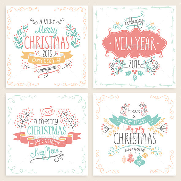 Christmas Hand Drawn Card Set - Christmas Seasons/Holidays