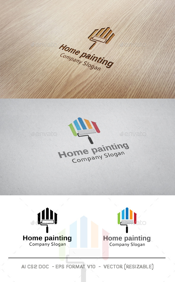 Home Painting Logo - Buildings Logo Templates