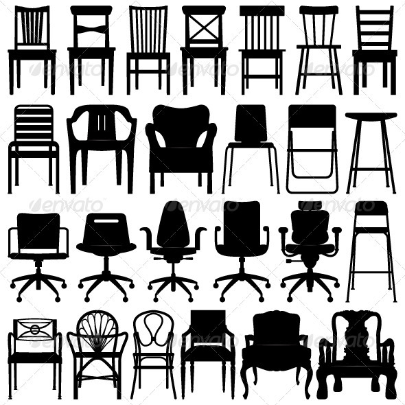 Chair Set Design in Silhouette - Man-made Objects Objects