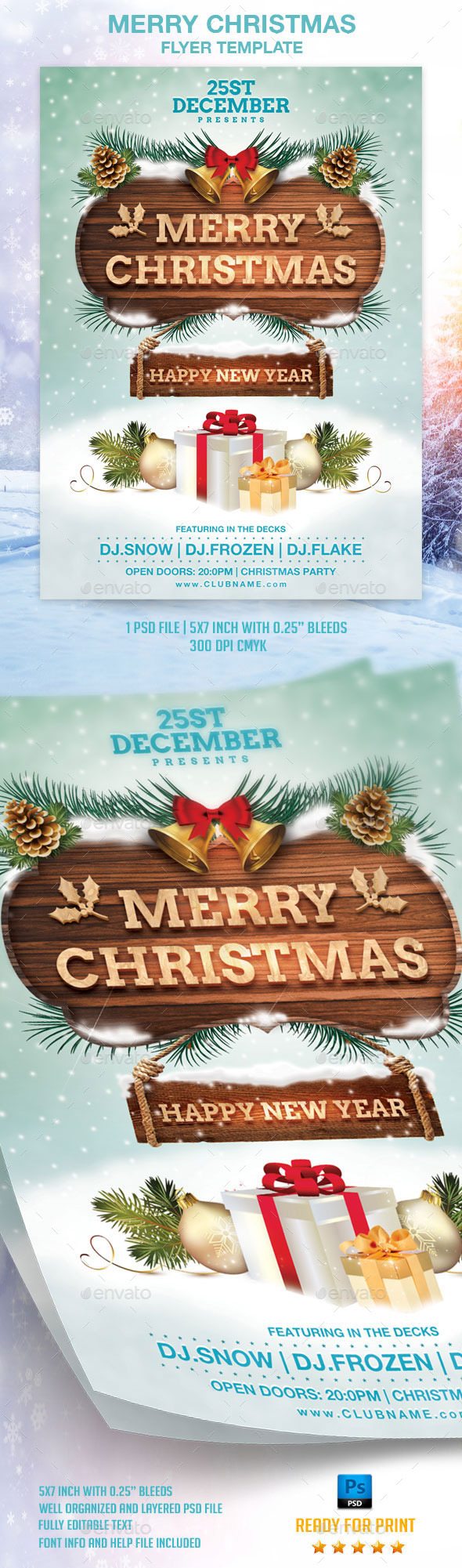 Merry Christmas Flyer Template - Flyers Print Templates